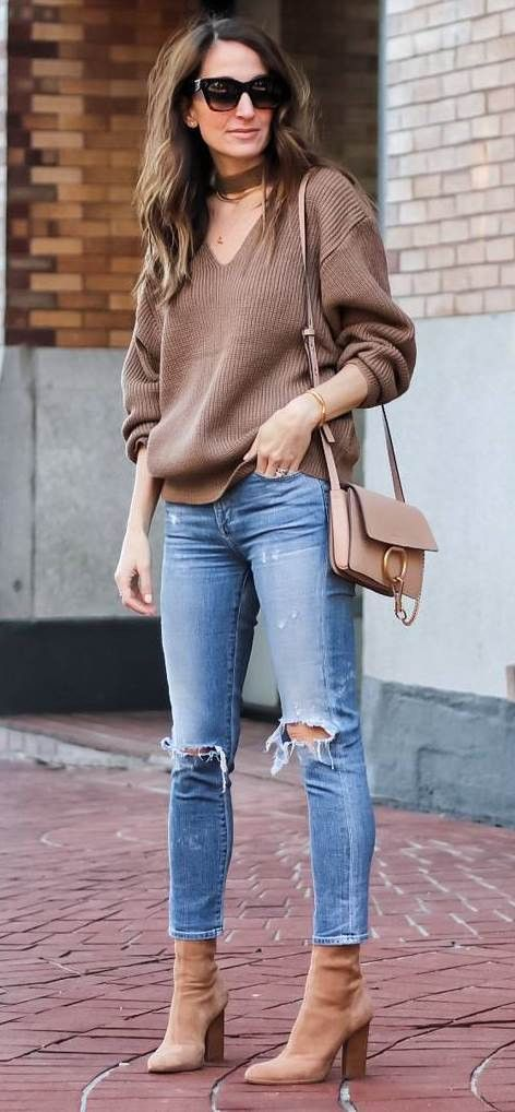 fall casual style outfit knit + ripped jeans