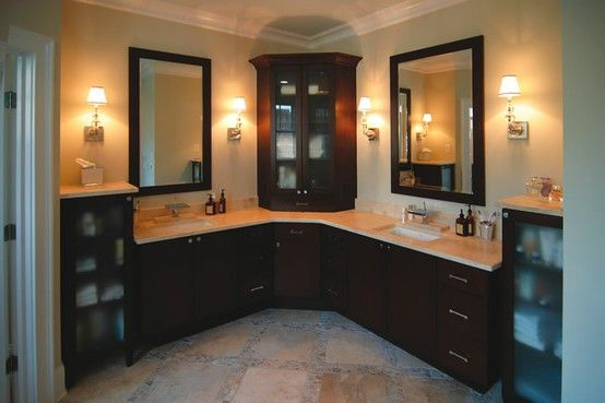 Bathroom inspiration corner cabinets and vanities on for Empty master bathroom