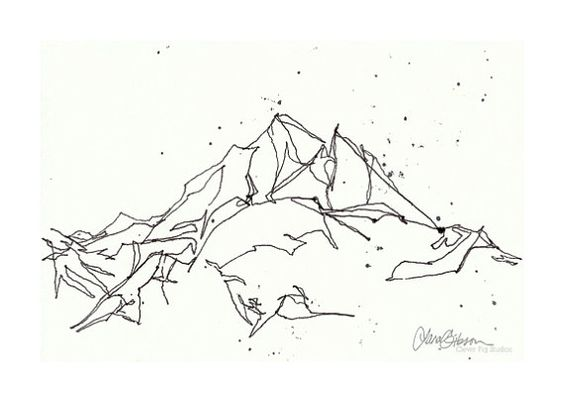 Line Art Aesthetic : Dessins de paysages paysage montagne and au