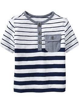 Striped-Chambray Henleys for Baby | Old Navy