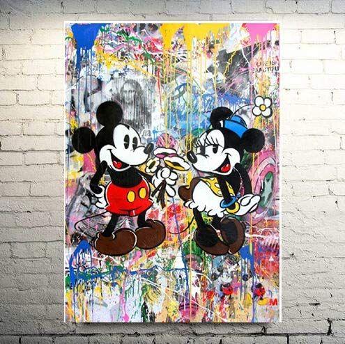 Amazon Com Faicai Art Classic Street Art Mickey Mouse Paintings Abstract Banksy Graffiti Canvas Wall Art Co Pop Art Canvas Colorful Wall Art Graffiti Wall Art