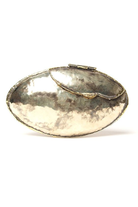 Anndra Neen Oval Hammered Clutch