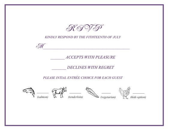 wedding rsvp w/ menu selections | wedding: Favorites | Pinterest ...