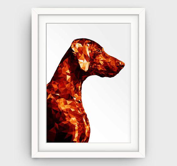 Tierische druckbare Kunst Gold Rost abstrakt Kunstdruck Deutscher Kurzhaariger Vorstehhund Kunstdruck geometrische Poster drucken moderne große Animal-Prints