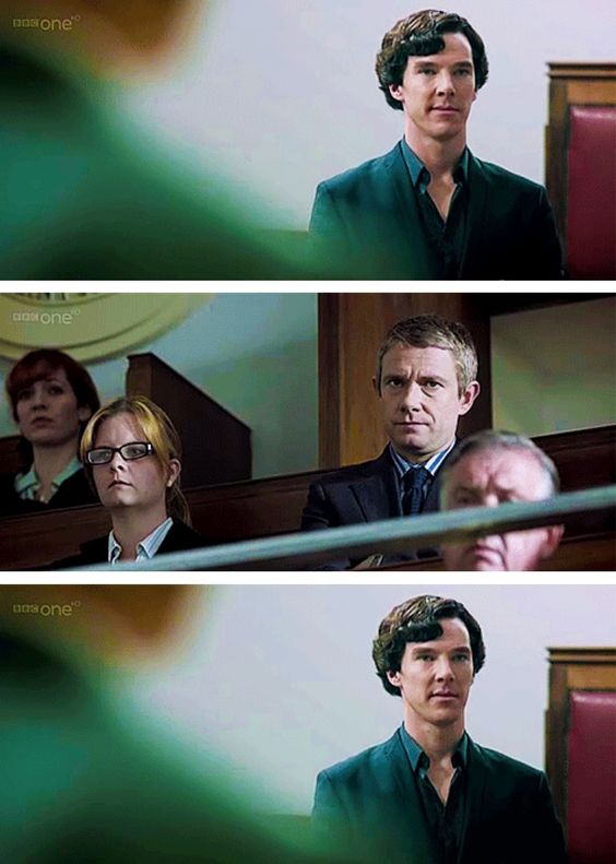 """Sherlock gets a disapproving look from John.  I love how Sherlock is all happy with himself and John is like, """"No."""""""