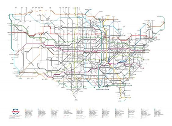 U.S. Highway Routes as a Subway Map  #graphic #design