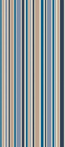 Cole & Son Jubilee Stripe wallpaper in blue, tan and grey.