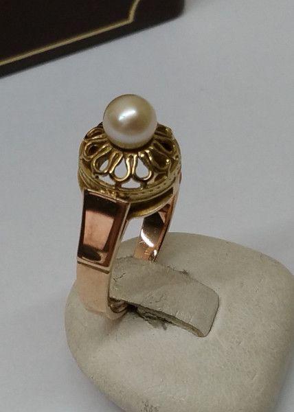 Vintage Ringe - Ring Rot-/Gelbgold 333 mit Perle Nostalgie GR159 - ein…