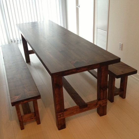 Narrow dining tables dining table with bench and foot for Thin dining table