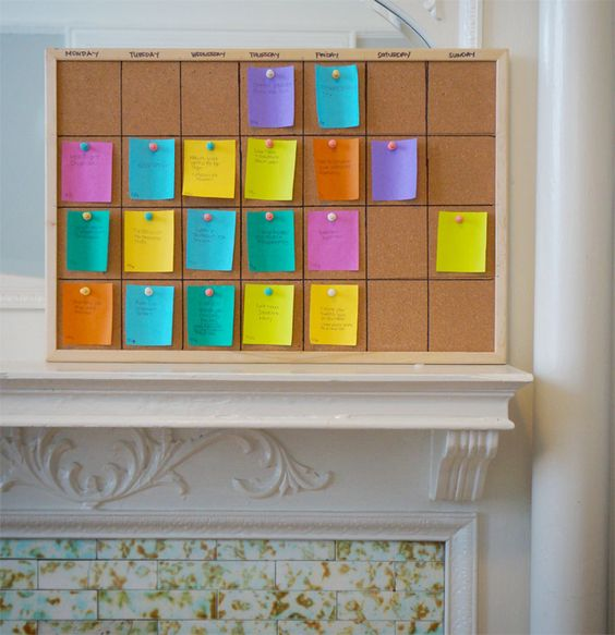 Diy Calendar For Classroom : Diy calendar with post its on a corkboard perfect for