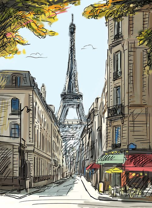A beautiful sketch of the design district in Paris.