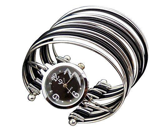 Baakyeek Elegant Wave/ Thin strips Bracelet Bangle Quartz Wrist Watch for Ladies Womens Black - Jewelry For Her