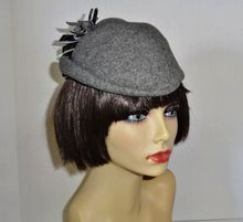 Vintage 1940's Gray Glenover Wool Hat with Feather Accent by Henry Pollak New York on Ruby Lane