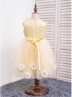 A-Line/Princess Scoop Neck Knee-length Flower(s) Cotton Chinlon Sleeveless Flower Girl Dress Flower Girl Dress