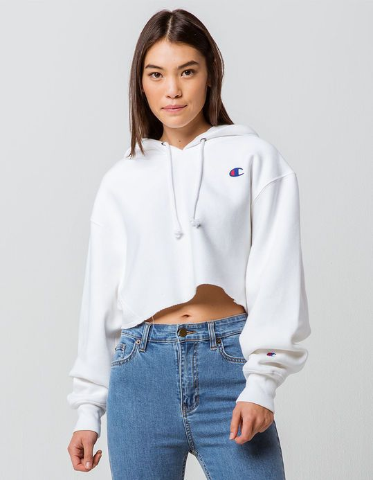 CHAMPION Reverse Weave White Womens Crop Hoodie | Cropped