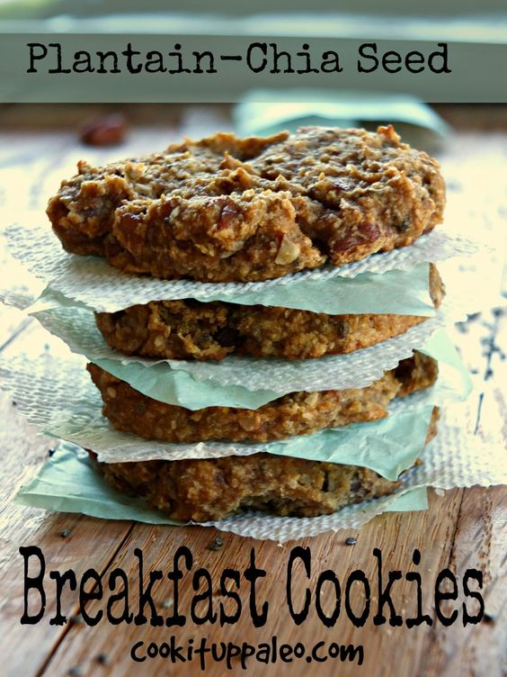 Plantain-Chia Seed Breakfast Cookies - These are so delicious and nutritious, and sweetened only with plantains and dates! They are also super-portable!
