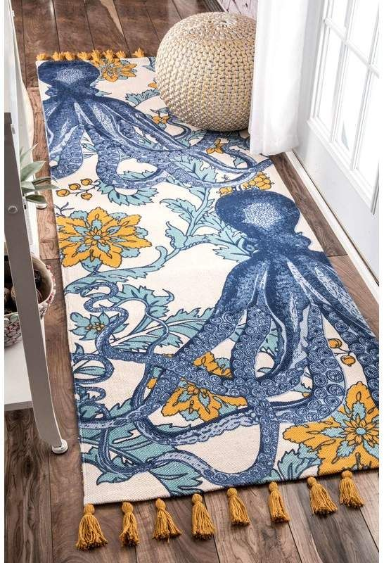 Thomas Paul Blue Yellow Area Rug Yellow Area Rugs Octopus Rug Cool Rugs