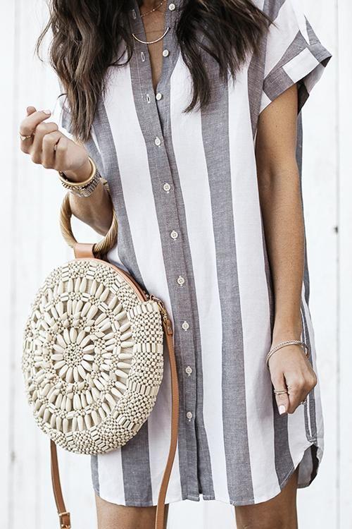 2019 New Autumn fashion women High-quality temperament belt Shirt dress SML