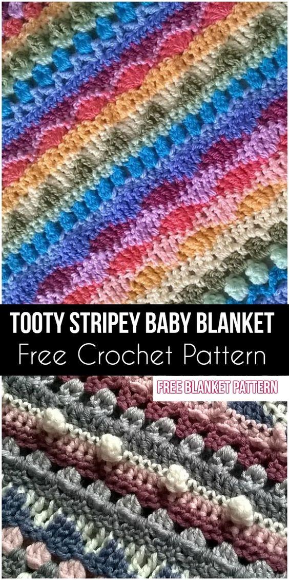 Tooty Stripey Baby Blanket – Free Crochet Pattern #crochet #freecrochetpattern #tootyStripey