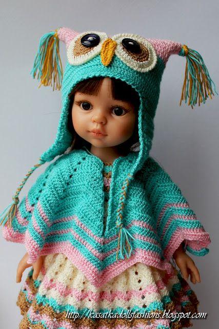 KasatkaDollsFashions: Как связать шапку-совушку для кукол Паола Рейна (куклы-подружки 32 см от Paola Reina):