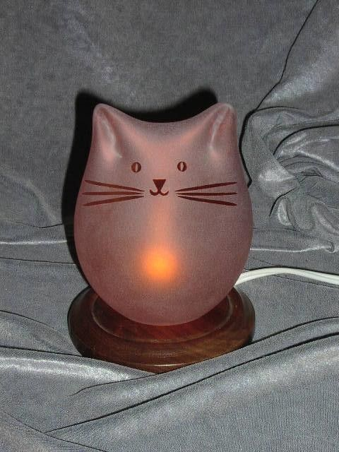 Salmon Cat Lamp by GlassCatsStudios on Etsy, $116.00