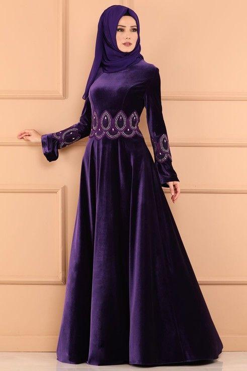 Modaselvim Abiye Tas Detay Kadife Abiye Ygs6172 Mor Elbiseler Abaya Tarzi Afrika Elbise