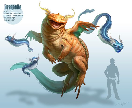 Realistic Pokemon: Dragonite -> by arvalis on deviantART The derpiest axolotyl.