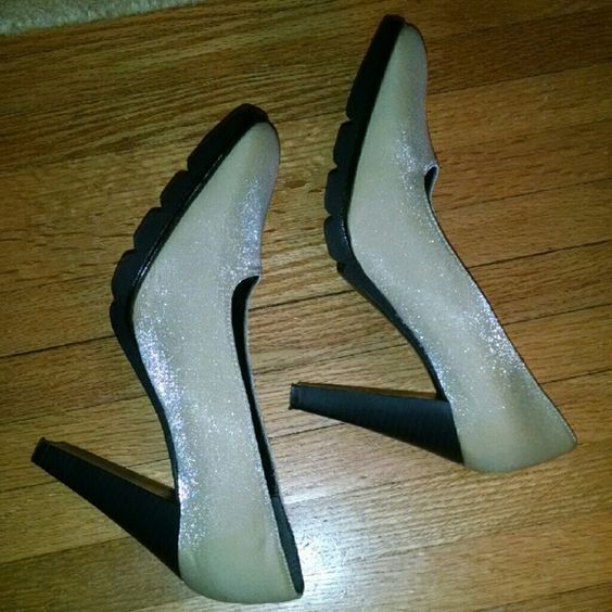"Cream, shiny cool heels 4"" heels, terry cloth insert Shoes Heels"