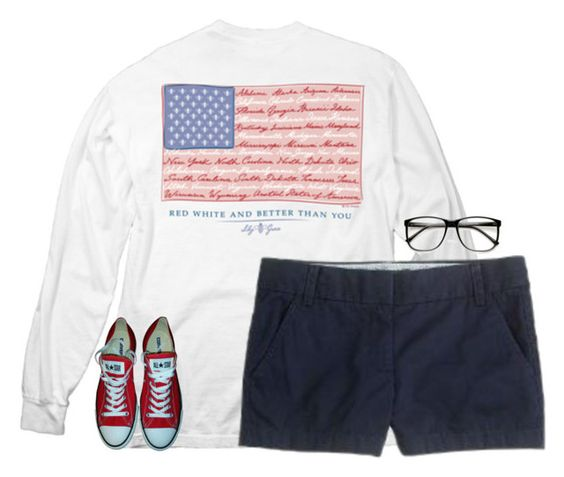 """""""Happy Memorial Day!❤️"""" by savanahe ❤ liked on Polyvore featuring J.Crew, ZeroUV and Converse"""
