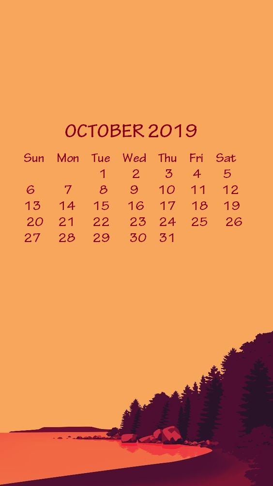 Iphone 2019 Calendar Wallpaper Calendar 2018 Calendar Wallpaper October Wallpaper 2019 Calendar