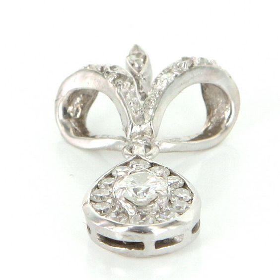 Vintage Diamond Drop Pendant 14 Karat White Gold Estate Fine Jewelry Heirloom