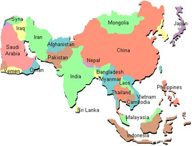 2d asia simple map