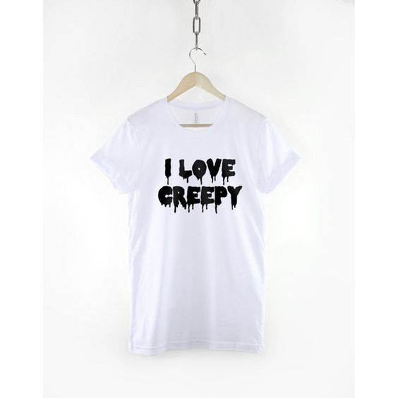 I Love Creepy Pastel Goth Halloween T-Shirt (24 CAD) ❤ liked on Polyvore featuring tops, t-shirts, white, women's clothing, white shirt, white tees, pattern shirts, gothic t shirts and i heart t shirts