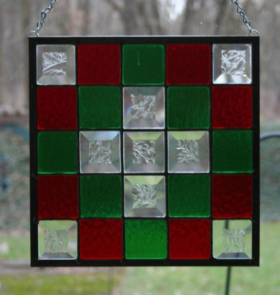 Christmas Quilt Stained Glass Panel by Imakeglass on Etsy