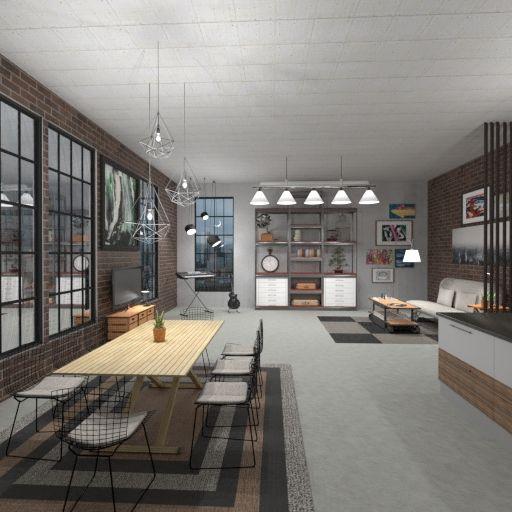 Loft Inerior Design Style Living Room Kicten Room Dining Room