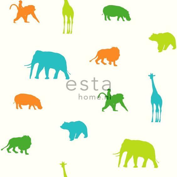 Esta Giggle 137335 groen blauw oranje wit dieren behang