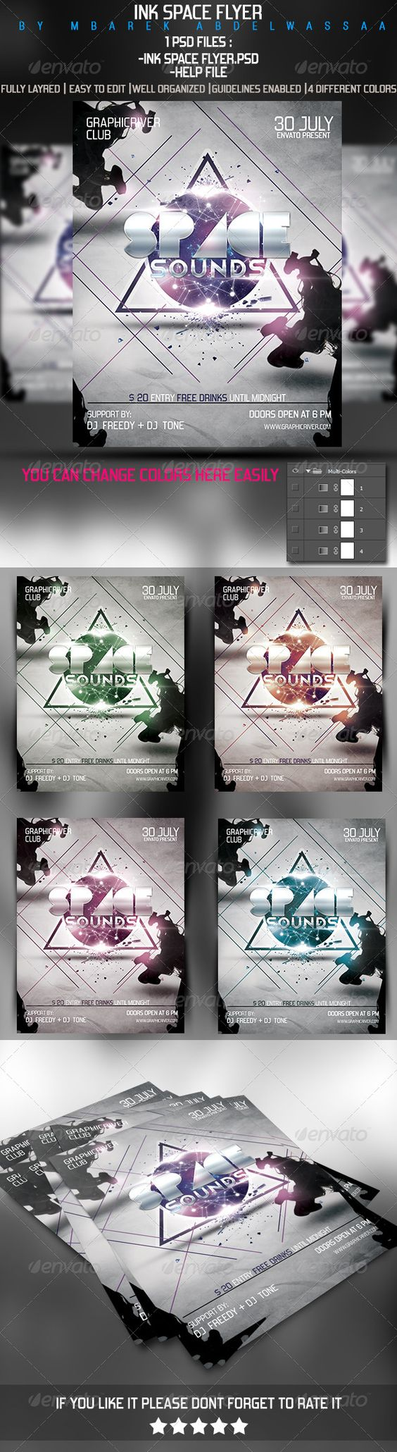 "Ink Space Flyer  #GraphicRiver         INK SPACE FLYER Template, a great promotional template , Club Party Etc… Psd File Easy to edit, Fully layred.  	 The following zip file contain 1 PSD files :  	 the PSD file is setup at 8.7""x11.25"" with trim) @ 300DPI CMYK.  	 if you like it Pliiiz Dont Forget To RATE it    Fonts used :  	 telegrafico:   .dafont /telegrafico.font forgotten-futurist :   .dafont /forgotten-futurist.font simcha   :     .dafont /simcha.font     Created: 18August13…"