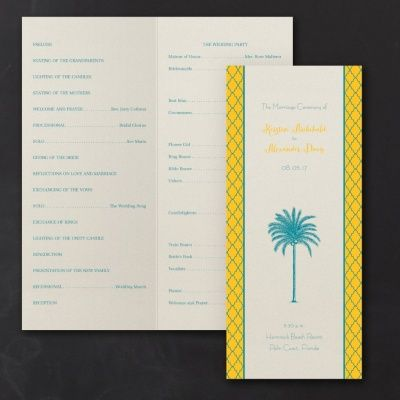 Palm Paradise - Program: A majestic palm tree stands tall on the front of this stylish wedding program. The side margins on the front are detailed with an elegant graphic design that frames the personalization. This same graphic pattern is seamlessly continued on the back side of the program. #program | Zuriana's Elegant Occasions