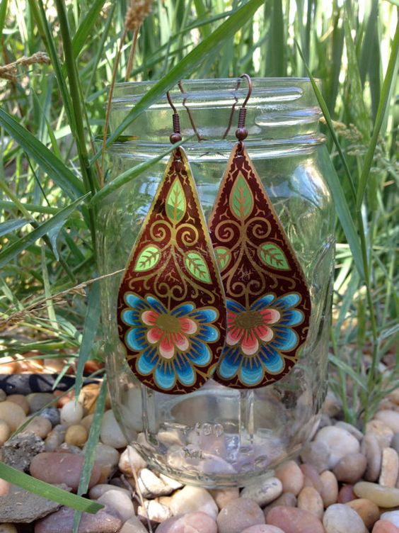 1971 Antique Recycled Tin Earrings  70's Flower by Kissthearth, $35.00