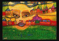 """Hundertwasser Kunstkarte """"Irinaland über dem Balkan"""" (nach Oeuvre 691) - Hundertwasser-Kalender.de"""