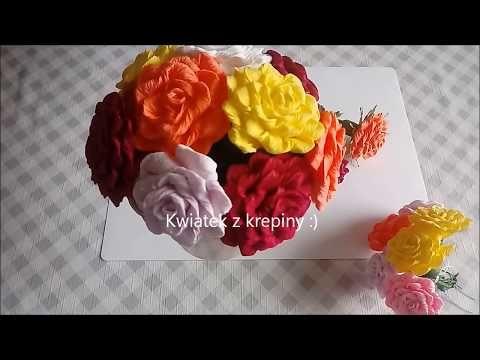 Kwiatek Z Krepiny Do Palmy Wielkanocnej Youtube Flowers Rose Plants