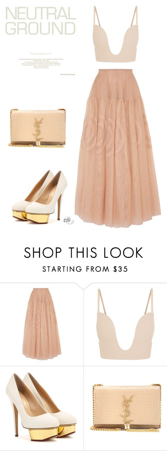 """""""Untitled #827"""" by elli-skouf ❤ liked on Polyvore featuring Rochas, Fashion Forms, Charlotte Olympia, Yves Saint Laurent and neutrals"""