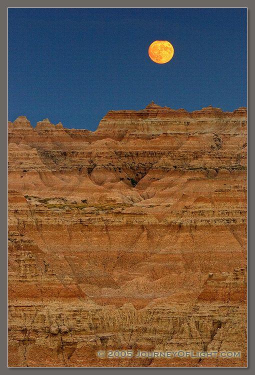 Full moon over Badlands  South Dakota
