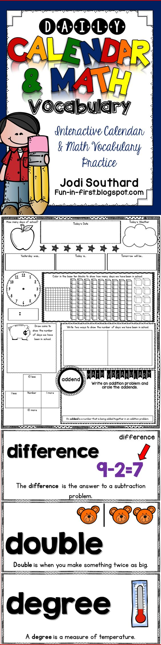 Calendar Math Printables Third Grade : Daily calendar math worksheets journal