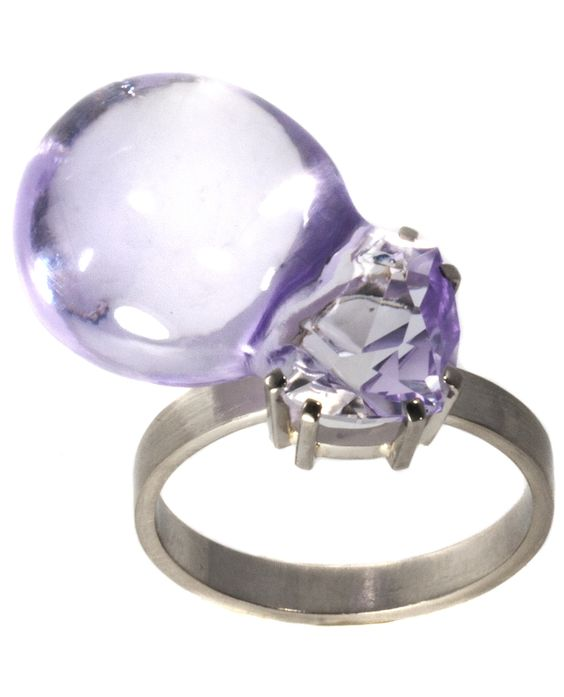 Julia Maria Künnap - Bubble Gum Ring, 2018. carved amethyst & 18k white gold