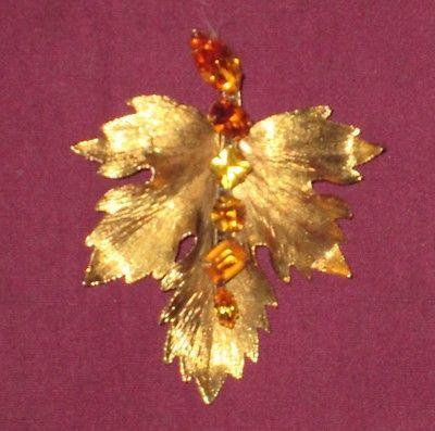 Vintage-Graziano-Metal-em-Tom-de-Ouro-Conjunto-De-Pinos-Amarelo-ambar-Strass-Pin-Broche