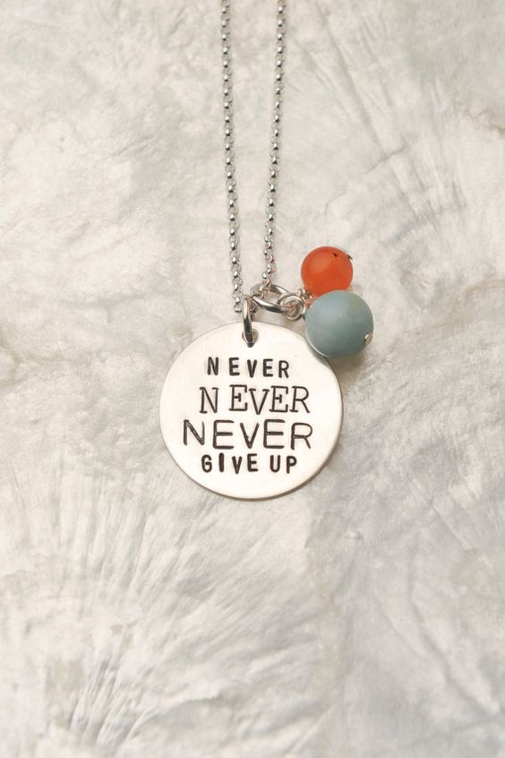 Never Never Never Give Up Necklace, Inspirational Jewelry Necklace, I Can Do Hard Things Necklace, Survivor Necklace $36