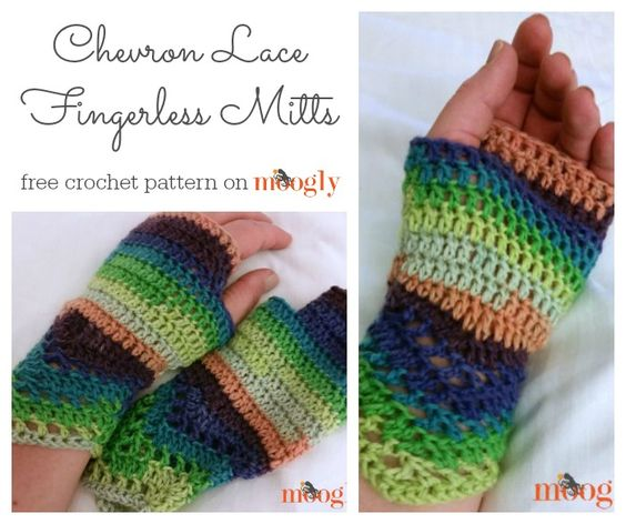 Chevron Lace Fingerless Mitts: free #crochet pattern on ...