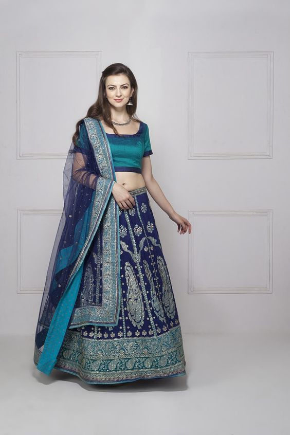 Indian Lehenga Choli Designs For Wedding Blue outfit by Ritu Kumar
