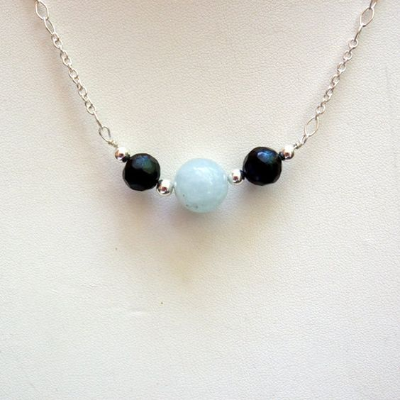 Aquamarine Black Pearl Sterling Silver Necklace by clairecreations on Etsy